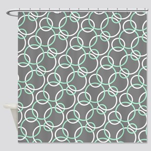 Mint White Gray Circles Shower Curtain